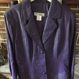 Purple leather 2 piece suit size 18